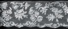 VALENCIENNES LACE   ~     Valenciennes Patterns  ~    About the middle of the long reign of Louis XV a change occurred in the patterns of fausse Valenciennes, and the scrolls and conventional flowers and leaves were partly superseded by designs of natural flowers —tulips, carnations and roses—beautiful enough in themselves, but neither as graceful nor as appropriate as their predecessors. But,. . the quality of the fabric was at its very best about 1740-50...