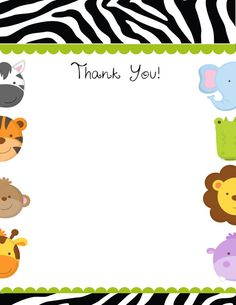 Baby Jungle Animals Printable Shower Thank by celebrationspaperie