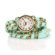 Mint Chain Wrap Watch ($13) ❤ liked on Polyvore