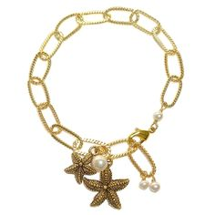 Starfish Charm Bracelet with white pearls from Baubella. $74 www.baubella.com