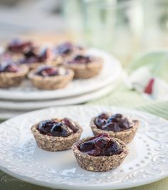 Cherry Tartlets with Hazelnut Almond Crust  Crust:      1 1/2 cups hazelnuts     1 cup almonds     3 dates     1 tablespoon raw agave nectar     1 teaspoon cinnamon     1 tablespoon water  Filling:      3 cups pitted and quartered cherries     1/4 cup coconut oil, melted     4 dates, coarsely chopped