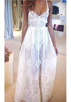 White Floral Condole Belt V-neck Lace Dress
