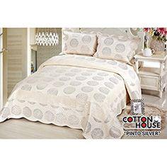 Cotton House Nubuk Pinto Kişilik Yatak Örtüsü - Gümüş