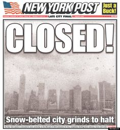 Newspaper Front Pages Totally Freak Out Over Winter Storm Juno