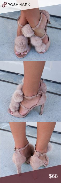 Pom Pom Nude Fur Heel Sandals BEIGE FUR HEELS 3 pom pom single ankle strap heels feminie and gorgeous Heel Height is 4.5 inches Boutique Shoes Heels
