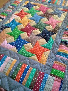 Купить Детское лоскутное одеяло Звёзды в горошек - горошек, в горошек, детское…
