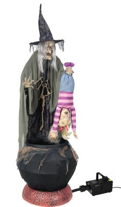 Animated Stew Brewing Witch With Kid