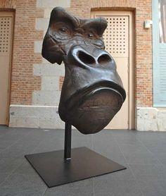 "Quentin Garel, Masque de gorille, Bronze, 94½"" x 47"" x 31½"""