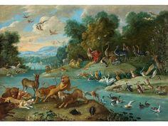 """PARADIESLANDSCHAFT MIT ORPHEUS, UM 1668 Öl auf Leinwand. 42,5 x 60 cm. Gerahmt. Basierend auf den """"Metamorphosen"""" Ovids und den """"Georgica"""" Vergils ist..."""