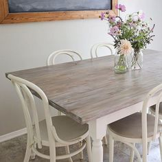 Here is a peek at our farm table makeover! I'm in love with the transformation! It's so light and airy and much more my style now! Check out the blog today (link in profile) to see the BEFORE photos, more after photos, and details on how I achieved this pretty, modern farmhouse table look!