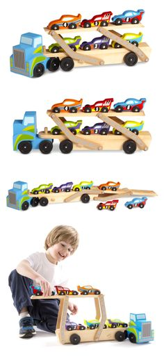 Wooden and Handcrafted Toys 1197: Melissa Doug Mega Race Car Carrier Wooden Play Vehicle Motor Skill Kid Toy Game -> BUY IT NOW ONLY: $32.5 on eBay!