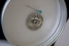 OH SNAP Hand Stamped Pendant with Camera Charm for #photographers #photography #camera, $21.00