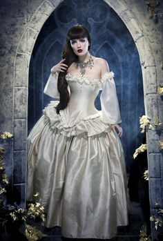 images of gothic women dressed in white   Victorian Fantasy Wedding Dress is also available in white glamor ...