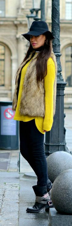 Winter Fashion 2014. Fedora, check! Fur vest, check! Great outfit By Tamara Chloe. ::M::