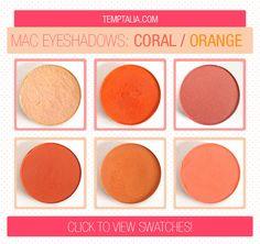 MAC Eyeshadow Swatches: Corals & Oranges