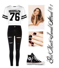 """""""Girl Meets Sneak Attack #1"""" by bella-014 ❤ liked on Polyvore featuring River Island, Boohoo and Converse"""