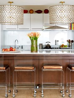 Love the colors in this kitchen and the simplicity, but not so sure about white cabinets.