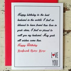 Husband Birthday Wishes Greeting Name Card Create Online