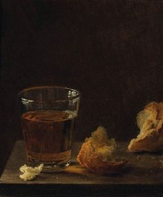 A Glass of Beer and a Bread Roll on a Table by Balthasar Denner