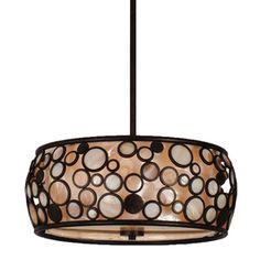 Fairgate 18-in W Bronze Pendant Light with Fabric Shade