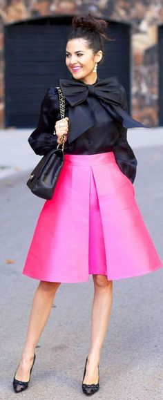 Kate Spade Front Bow Black Blouse by Pink Peonies