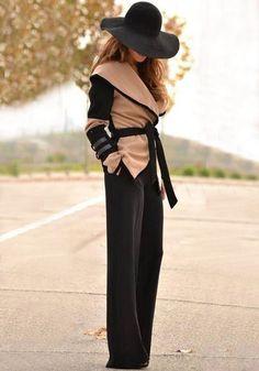 Apricot Color Block Long Sleeve Acrylic Wool Coat