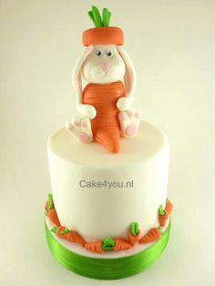 Easter bunny in carrot suit cake