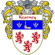 Kearney Coat of Arms   http://irishcoatofarms.org/ has a wide variety of products with your surname with your coat of arms/family crest, flags and national symbols from England, Ireland, Scotland and Wale