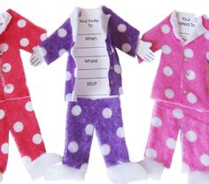 Children's Birthday Invitation Idea. Slumber party pjs invitations (sold as 6 in pack) on MiniMoh's Online Marketplace. $10