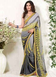 Grey Embroidery Work Georgette Printed Fancy Designer Casual Sarees  #Wedding #Bridal #designer #Saree       http://www.angelnx.com/Sarees