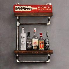 Chivas Полка - полка в стиле лофт. Гостиная, бар, ресторан, кафе. Мебель для кафе, дома. Полка для хранения. Деревянная полка.