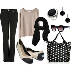 FUN little outfit love the poke a dot BAG!!!! Black and Nude with Classy Toms ballet flats