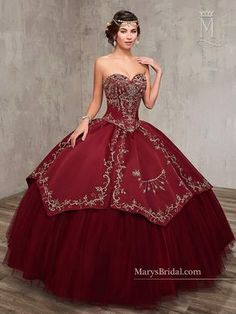 Embroidered Satin Quinceanera Dress by Mary's Bridal Princess 4Q516 - ABC Fashion