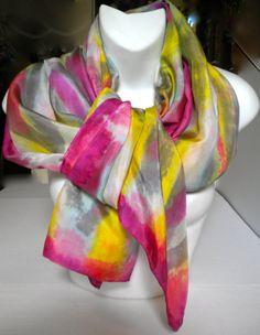 Beautiful Jewel Tone Silk Scarf / 22x72/ by SilkScarvesJoanReese, $120.00