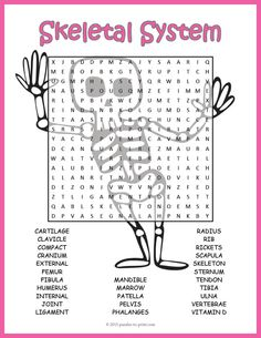 Skeletal System Word Search: This would be good as supplement when studying the skeletal system or as a handout for early finishers. Kids really enjoy word search puzzles and they increase vocabulary and improve spelling while having fun hunting down the words.