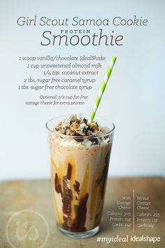 Girl Scout Samoa Cookie Protein Shake #idealshape #samoacookie #smoothie #weightloss