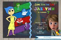 Inside Out Birthday Invitation - Disneys Inside Out - pixar movie