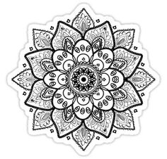 Drawing On Creativity Black On White Floral Mandala Sticker - Black floral mandala ornate geometric girly design. Throat Tattoo, Hand Tattoo, Hard Drawings, Realistic Drawings, Sunflower Mandala Tattoo, Mandala Art, Hippie Flowers, Hawaiian Tattoo, Floral Watercolor