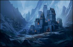 Patreon A by andreasrocha mountain village town city inn tavern snow winter remote castle landscape location environment architecture | Create your own roleplaying game material w/ RPG Bard: www.rpgbard.com | Writing inspiration for Dungeons and Dragons DND D&D Pathfinder PFRPG Warhammer 40k Star Wars Shadowrun Call of Cthulhu Lord of the Rings LoTR + d20 fantasy science fiction scifi horror design | Not Trusty Sword art: click artwork for source