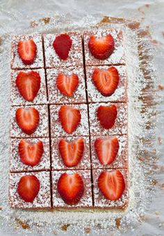 Fresh Strawberry Bars. Now this truly is a girly girl dessert. But I am sure the other species will enjoy it as well:) YUM.