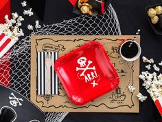These fab Pirate Party plates are super cute and perfect for parties with a pirate theme. Featuring a square red plate with a skull and crossbones and 'Arr!' underneath. Each pack contains 6 plates measuring approximately 20cm x 20cm. Pirate Party Favors, Pirate Theme, Gold Christmas Decorations, Gold Party Decorations, Rose Gold Ribbon, Party Giveaways, Red Plates, Present Wrapping