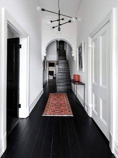 black wood floors, white walls and ceiling Interiors Online, Black Floor, House Design, Decor Interior Design, Flooring, Interior Design, House Interior, Black Wood Floors, Hallway Decorating