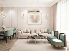 Sep 2019 - Elegant Luxury beige and green living room decor with comfy modern sofa Classy Living Room, Beige Living Rooms, Living Room Area Rugs, Living Room Green, Home Living Room, Interior Design Living Room, Living Room Designs, Living Room Decor, Beige Living Room Furniture