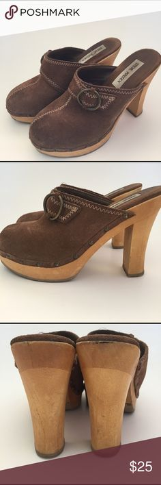 Steve Madden Faris Mules Genuine brown suede clog. 4 1/2 inch heel. Made in Brazil. No chips on wood. Brass buckle and studs. Steve Madden Shoes Mules & Clogs