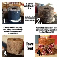 Toilet paper candles this seems a little weird but wiling to try and make it! Rustic Crafts, Country Crafts, Primitive Crafts, Primitive Christmas, Decor Crafts, Christmas Crafts, Primitive Decorations, Primitive Patterns, Primitive Furniture