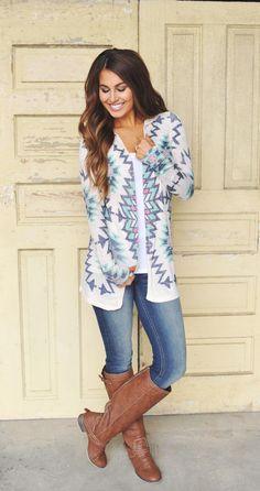 Oatmeal Aztec Cardigan - Dottie Couture Boutique