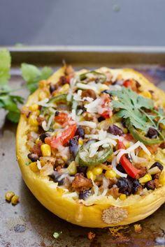Easy Healthy Mexican spaghetti squash boats