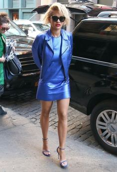 No one looks cooler then Rita in electric blue taking to the NYC streets.