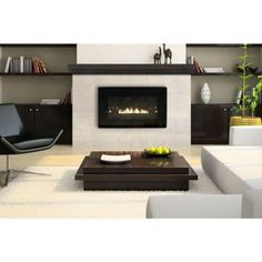 contemporary built-ins & modern stone fireplace | living spaces ...