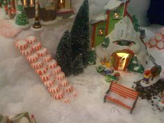 Peppermint steps in the Department 56 North Pole Village. 1-877-224-1772 www.SantaClausChristmasStore.com